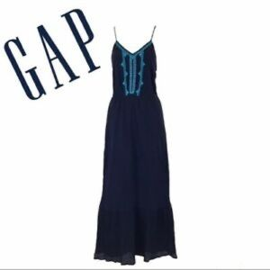 GAP Embroidered crinkle tiered maxi dress